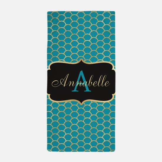 Teal Monogram Mermaid Scale Beach Towel