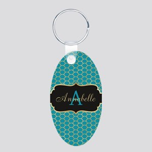 Teal Monogram Mermaid Scale Keychains