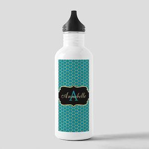 Teal Monogram Mermaid Scale Water Bottle