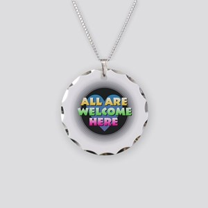 All Are Welcome Here Necklace Circle Charm