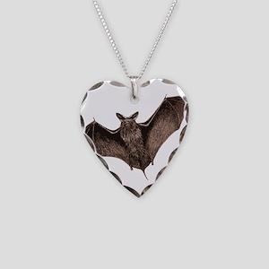 Bat Necklace Heart Charm