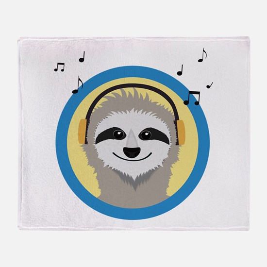 Cool Sloth is hearing music Throw Blanket