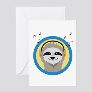 Cool Sloth is hearing music Greeting Cards