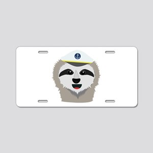 captain sloth with hat Aluminum License Plate