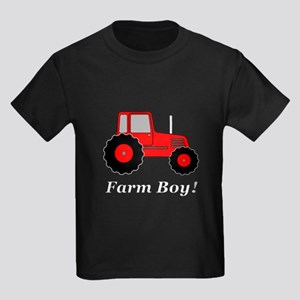 Farm Boy Red Tractor Kids Dark T-Shirt