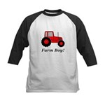 Farm Boy Red Tractor Kids Baseball Jersey