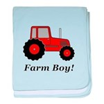 Farm Boy Red Tractor baby blanket