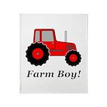 Farm Boy Red Tractor Throw Blanket