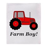 Farm Boy Red Tractor Throw Blanket
