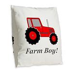 Farm Boy Red Tractor Burlap Throw Pillow
