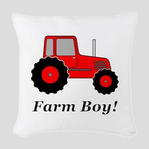 Farm Boy Red Tractor Woven Throw Pillow