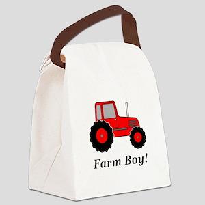 Farm Boy Red Tractor Canvas Lunch Bag
