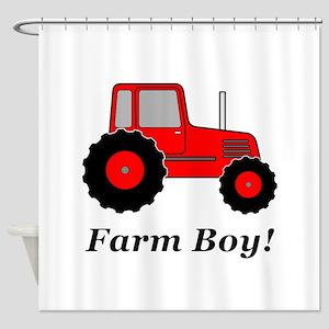 Farm Boy Red Tractor Shower Curtain