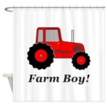 Farm Boy Red Tractor Shower Curtain