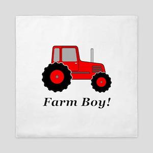 Farm Boy Red Tractor Queen Duvet