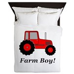Farm Boy Red Tractor Queen Duvet