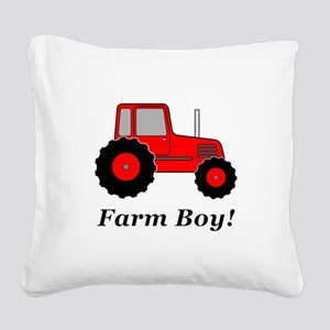 Farm Boy Red Tractor Square Canvas Pillow