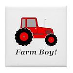 Farm Boy Red Tractor Tile Coaster
