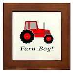 Farm Boy Red Tractor Framed Tile