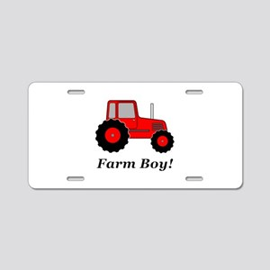 Farm Boy Red Tractor Aluminum License Plate