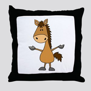 Funny Bay Horse Cartoon Throw Pillow
