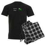 Farm Boy Green Tractor Men's Dark Pajamas