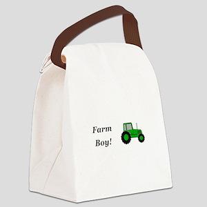 Farm Boy Green Tractor Canvas Lunch Bag