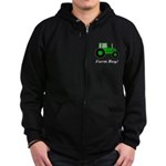 Farm Boy Green Tractor Zip Hoodie (dark)