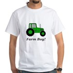 Farm Boy Green Tractor White T-Shirt