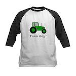 Farm Boy Green Tractor Kids Baseball Jersey