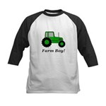 Farm Boy Green Tractor Kids Baseball Jersey