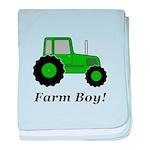 Farm Boy Green Tractor baby blanket