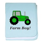 Farm Boy Green Tractor baby blanket