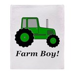 Farm Boy Green Tractor Throw Blanket