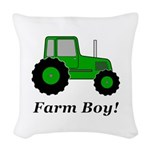 Farm Boy Green Tractor Woven Throw Pillow