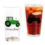 Farm Boy Green Tractor Drinking Glass