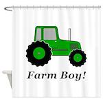 Farm Boy Green Tractor Shower Curtain