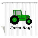 Farm Boy Green Tractor Shower Curtain