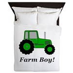 Farm Boy Green Tractor Queen Duvet