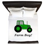 Farm Boy Green Tractor King Duvet