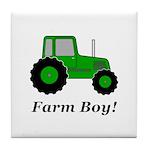 Farm Boy Green Tractor Tile Coaster