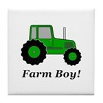 Farm Boy Green Tractor Tile Coaster