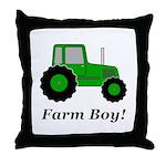 Farm Boy Green Tractor Throw Pillow
