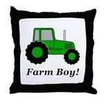 Farm Boy Green Tractor Throw Pillow
