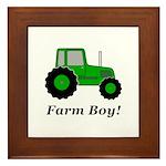 Farm Boy Green Tractor Framed Tile