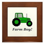 Farm Boy Green Tractor Framed Tile