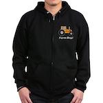 Farm Boy Orange Tractor Zip Hoodie (dark)