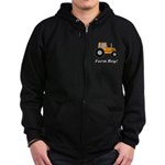 Farm Boy Orange Tractor Zip Hoodie (dark)