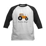 Farm Boy Orange Tractor Kids Baseball Jersey