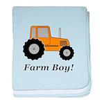Farm Boy Orange Tractor baby blanket